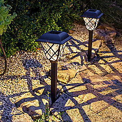 Pair of Traditional Warm White LED Solar Garden Stake Lights