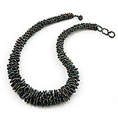 Peacock Chunky Glass Bead Necklace - 58cm Length