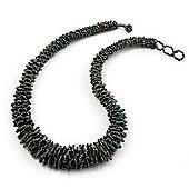 Peacock Chunky Glass Bead Necklace - 58cm Length