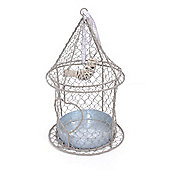 Hangin Rustic Metal Bird Feeder with Heart & Wicker Bird Detail