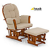 Hauck Glider Nursing Chair and Stool - Natural/Beige