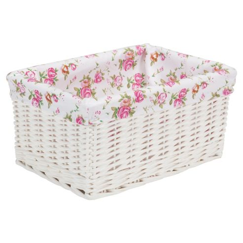 Tesco White Wicker Lined Media Storage