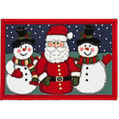 Santa and Snowmen Christmas Door Mat