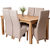 Aspen Solid Oak 150 cm Dining Table with 6 Lola Fabric chairs (Oatmeal)