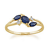 Gemondo 9ct Yellow Gold 0.70ct Kanchanaburi Sapphire & Diamond Classic Ring