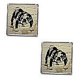 White Brick Barry Bulldog Graffiti Cufflinks