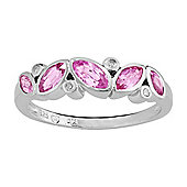 Gemondo Sterling Silver 0.72ct Natural Pink Sapphire & Diamond Classic Ring