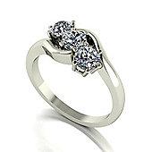18ct White Gold 3 Stone Moissanite Twist Ring