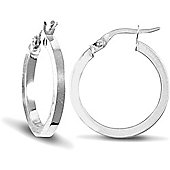 Jewelco London 9ct White Gold Square Tube Hoop Earring