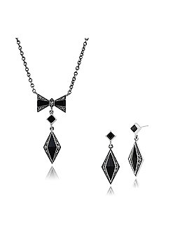 Gemondo 925 Sterling Silver Black Onyx & Marcasite Art Deco Drop Earring & 45cm Necklace Set