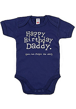 Dirty Fingers Happy Birthday Daddy! Baby Bodysuit - Navy