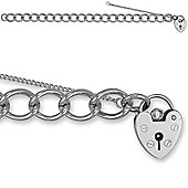 Jewelco London Sterling Silver Traditional British Made Ladies - charm - Bracelet - 9.5mm Guage