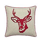 Catherine Lansfield Home Cosy Corner Stags Head Red Cushion Cover