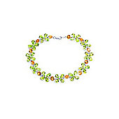 QP Jewellers 7.5in Citrine & Peridot Blossom Bracelet in 14K White Gold