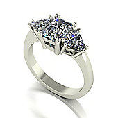 18ct White Gold Radiant and Trillion Moissanite Trilogy Ring