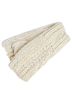 F&F Cable Knit Handwarmers - Cream