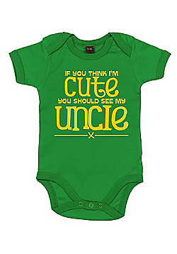 Dirty Fingers If you think I'm cute see my uncle Bodysuit - Green