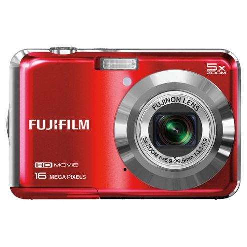 Fuji AX650 Digital Camera, Red, 16MP, 5x Optical Zoom, 2.7