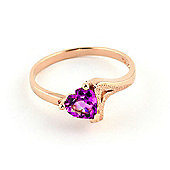 QP Jewellers 0.95ct Pink Topaz Devotion Heart Ring in 14K Rose Gold