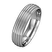 Jewelco London 9ct White Gold - 5mm Essential Court-Shaped Ribbed Band Commitment / Wedding Ring -