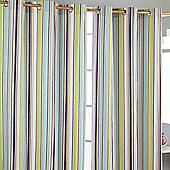 Homescapes Osaka Green Stripes Ready Made Eyelet Curtain Pair, 137 x 182 cm Drop