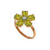 QP Jewellers Diamond & Peridot Foliole Ring in 14K Rose Gold