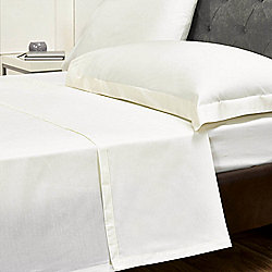 Julian Charles Percale Cream Luxury 180 Thread Count Flat Sheet - King Size