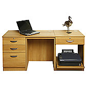 Enduro Home Office Desk / Workstation with Pedestal and Printer Storange - English Oak