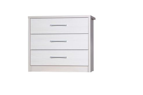 Alto Furniture Avola 3 Drawer Chest - Cream Carcass With White Avola