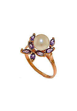 QP Jewellers Amethyst & Pearl Ivy Ring in 14K Rose Gold