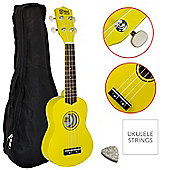 Mad About Beginner Yellow Soprano Ukulele with FREE Uke Bag