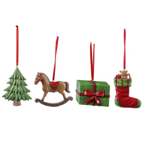 Buy Set of Four Traditional Themed Christmas Tree