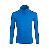 Meribel Kids Cotton Roll Neck Top - Electric blue