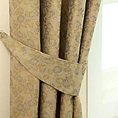Homescapes Gold Jacquard Tie Back Pair Vintage Floral Design