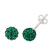 Rhodium-Coated Sterling Silver Green Crystal Shamballa Earrings
