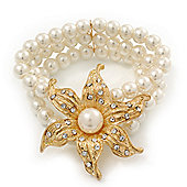 Multistrand White Glass Pearl 'Flower' Flex Bracelet - up to 20cm Length