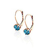 QP Jewellers 1.20ct Blue Topaz Boston Leverback Earrings in 14K Rose Gold