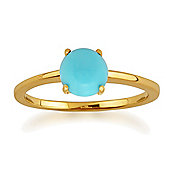 Gemondo Amour Damier 9ct Yellow Gold 0.90ct 4 Claw Set Turquoise Cabochon Ring