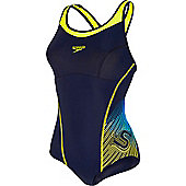 Speedo Ladies Fit Racerback Swimsuit - Navy & Yellow