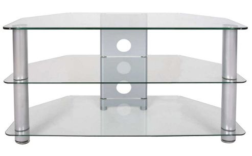Tru-Vue Small Clear Glass Corner TV Stand for up to 37 inch TVs