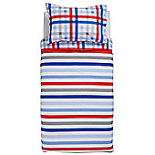 Tesco Kids Stripe Duvet Set, Double, Blue & Red.
