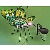 Garden Glows Solar Powered Colour Changing Green Glass Butterfly Light
