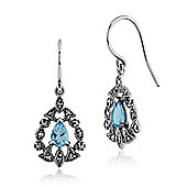 Gemondo Sterling Silver 0.93ct Blue Topaz & 0.24ct Marcasite Victorian Drop Earrings
