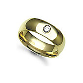 Jewelco London 9ct Yellow Gold 7mm Court Diamond set 10pts Solitaire Wedding / Commitment Ring