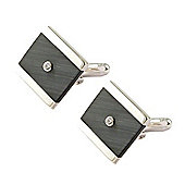 Sterling Silver and Black Cat Eye CZ Centre Square Cufflinks