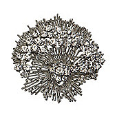 Rhodium Plated, Crystal Spray Brooch