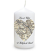 Personalised 1896 - 1904 Revised New Heart Map Candle