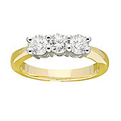 9ct Gold 0.75 Carat Three Stone Diamond Ring