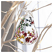 Glass Pear  Snowflake Design Hanging Decoration