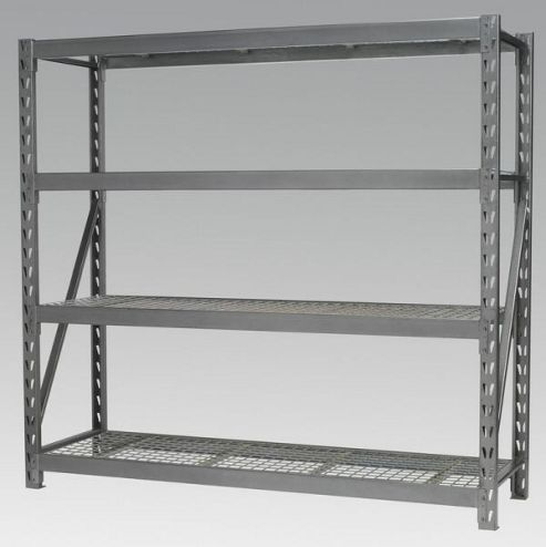 Heavy-Duty Racking Unit with 4 Mesh Shelves 800kg Capacity Per Level